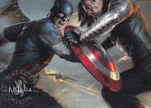 Cap and Bucky - Oil Pastels by NataliesCourageClub