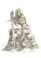 Siamh with her sword by sebastien-grenier