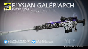 Elysian Galeriarch (Exotic Sniper Rifle Concept) by Rageblade66