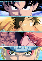 Goku Luffy Ichigo Y Naruto by pollo1567