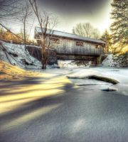 Covered Bridge Sunset 2Color by IraMustyPhotography