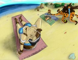 Petisu and Art at the Beach by FFXI-Artico