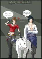 Morgan and Sasuke _ Art-trade by Hunter-Wolf