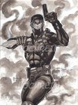 SNAKE EYES INK WASH AND ACRYLIC PINUP by AHochrein2010