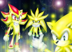 Sonic, Shadow, Silver Super_GO by renealexa
