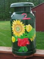 Yellow Flowers Milk Can by Souzay