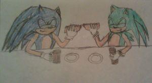 Enjoying Lunch - Sonic and Blitz by A5L