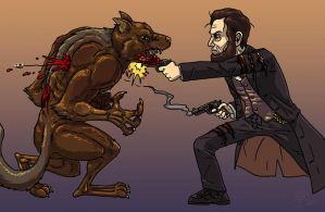 Abe Lincoln versus Werewolf by DangerPins