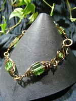 Bronze And Green Herringbone Bracelet by BacktoEarthCreations