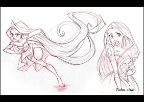 Tangled sketches by Goku-chan