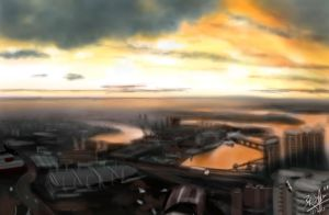 iPad finger painting - view of Sydney by chaseroflight