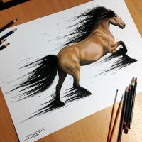 Horse Splatter Drawing by AtomiccircuS
