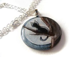 Black Cat in Tree - Pendant Necklace by sobeyondthis