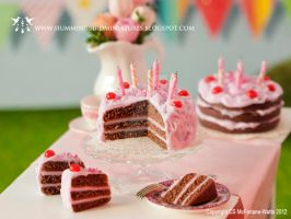 Miniature birthday cake with cherries by CaroMcFW