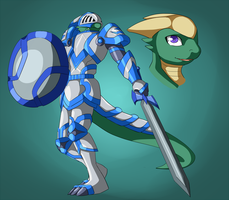 Equecendramon, the Lizard Knight by INCtastic