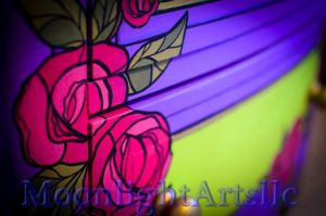 Painted night stand / Roses by Moonlight-Arts