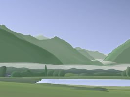 valley in rising sunlight by hermik