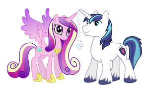 Cadance and Shining Armor by Serenawyr