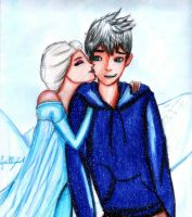 Elsa and Jack Frost by GuillermoAntil