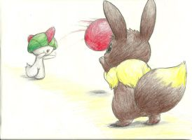 Eevee and Ralts play some tap ball by Mon311