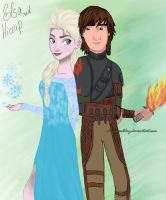 Elsa and Hiccup (Hiccelsa/Frozen Dragon) by DianAxColibrY