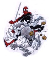 spidey vs goblin sketch by alanrobinson