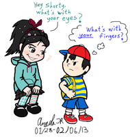 Vanellope Meets Ness by CherishedRose
