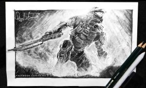 Halo -pencil drawing- by Rakisan-Art