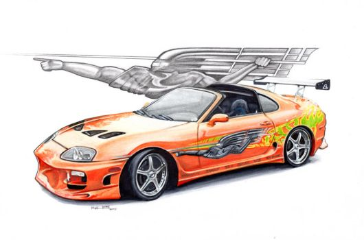 The fast and the furious Toyota Supra, Paul Walker by froggstomper79