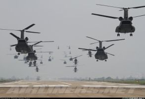 Military Helicopters Taking Off by jamestayloranime