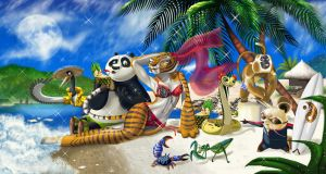 Kung fu panda on the beach by Rocio-Aj