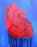 Heart Stencil on Canvas by darcydoll