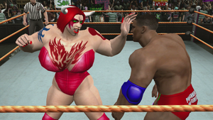 Red Monster Lady punches Justin Holloway by fzero64