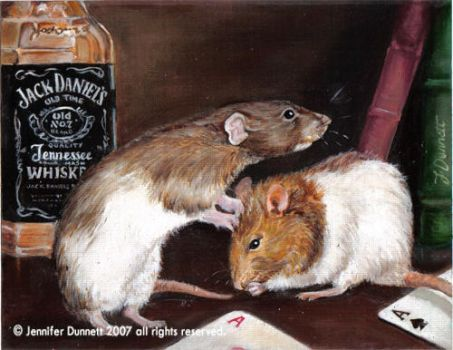 rat oil painting WIP by CatInTheDark