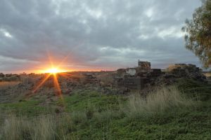 Sunset over Cumberland ruins by ajhaysom