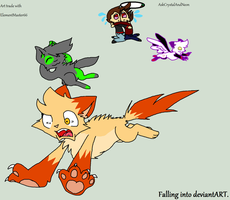 My part of the art trade: Falling into deviantART by AskCrystalAndNeon