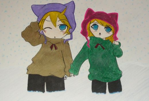 Len and Rin Kagamine Winter by I-LOVE-INUYASHA7327