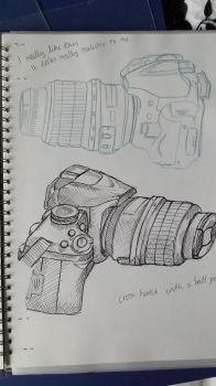 College Work -  Cameras - Pencil and Pen by AmyTheStrange1