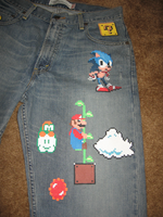 8-Bit Jeans, Mario and Sonic by GoodAsh03