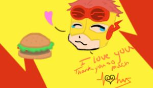 Kid Flash and his food by Mao-kun007