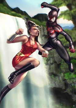 Spider Man Vs Wondergirl by cric