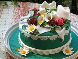 Fondant Covered Flower Cake by theNUTmeg