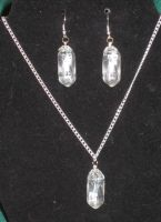 Clear dice necklace and earrings by BlackUnicornWood