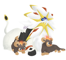 Solgaleo with Litleos by Pixellem