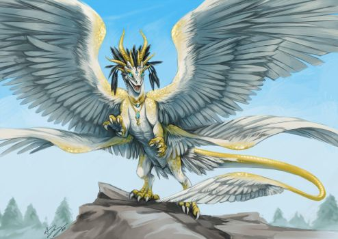Commission: Angelic Dragon by pinali