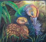 Mother Peahen and Peachick Chalk Final by charfade