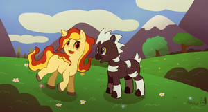 My Little Pokemon - Ponyta and Blitzle by PokeGirl5