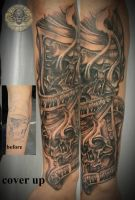Skull chicano arm cover up by 2Face-Tattoo