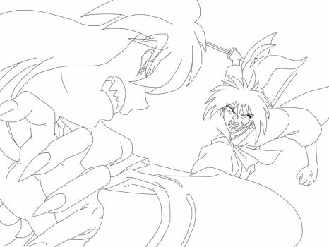InuYasha and Kenshin line art by Soulfire7609