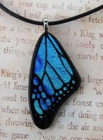 Butterly Wing of Blues Glass by FusedElegance